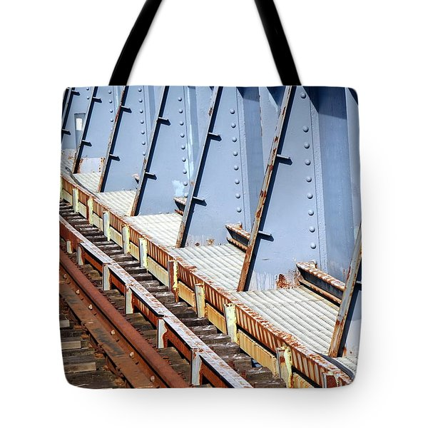 Tote Bag featuring the photograph Old Rusty Railway Bridge by Yali Shi