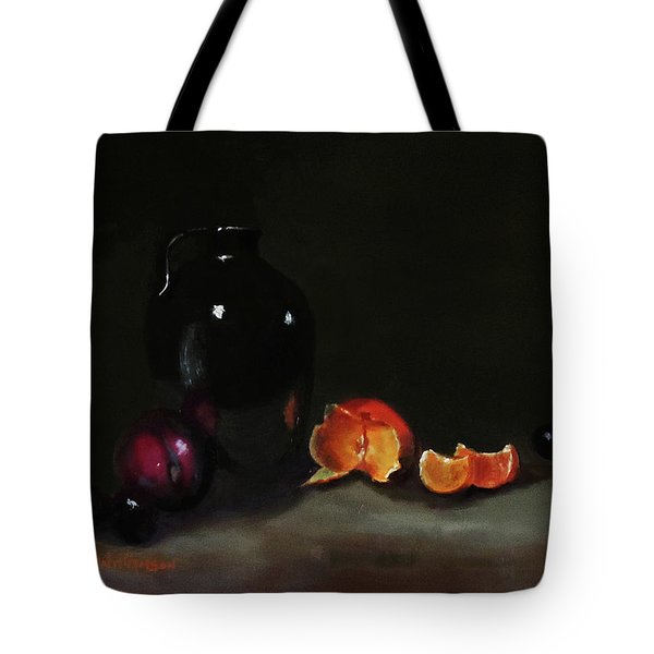 Tote Bag featuring the painting Old Sake Jug And Fruit by Barry Williamson