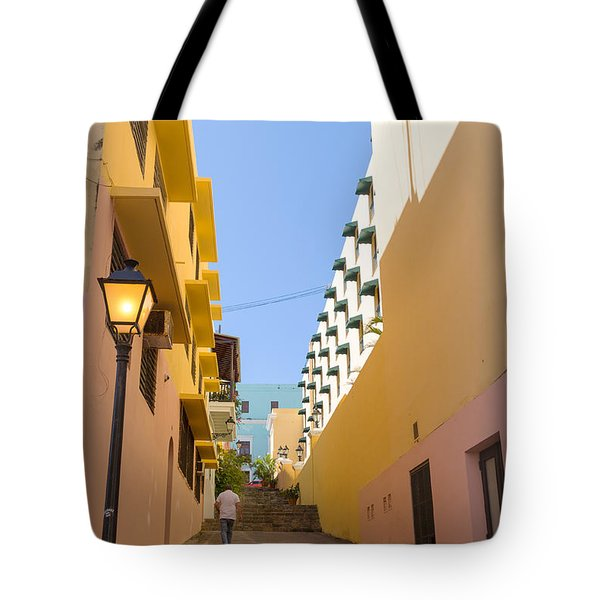 Tote Bag featuring the photograph Old San Juan Alleyway by Jose Oquendo