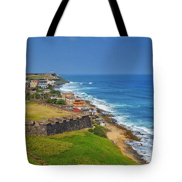 Old San Juan Coastline Tote Bag by Stephen Anderson