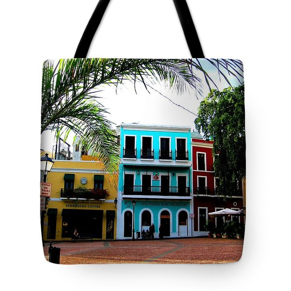 Tote Bag featuring the photograph Old San Juan Pr by Michelle Dallocchio