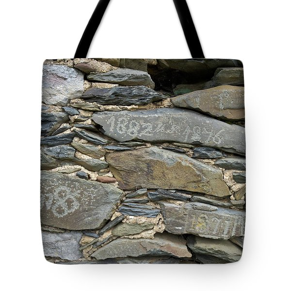 Old Schist Wall With Several Dates From 19th Century. Portugal Tote Bag by Angelo DeVal