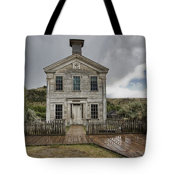 Old School House After Storm - Bannack Montana Tote Bag by Daniel Hagerman