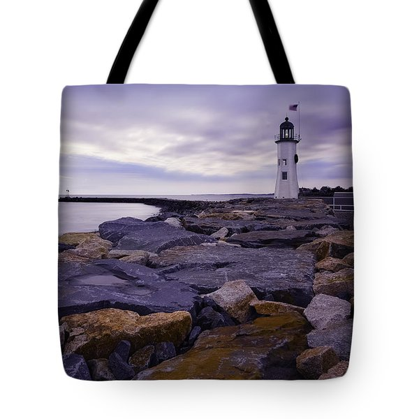 Old Scituate Light At Sunrise Tote Bag