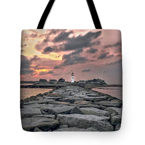 Old Scituate Light At The End Of The Jetty Tote Bag