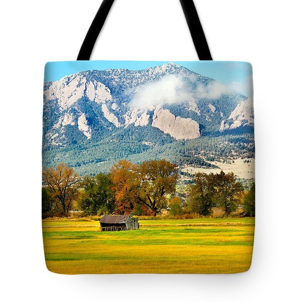 old shed against Flatirons Tote Bag