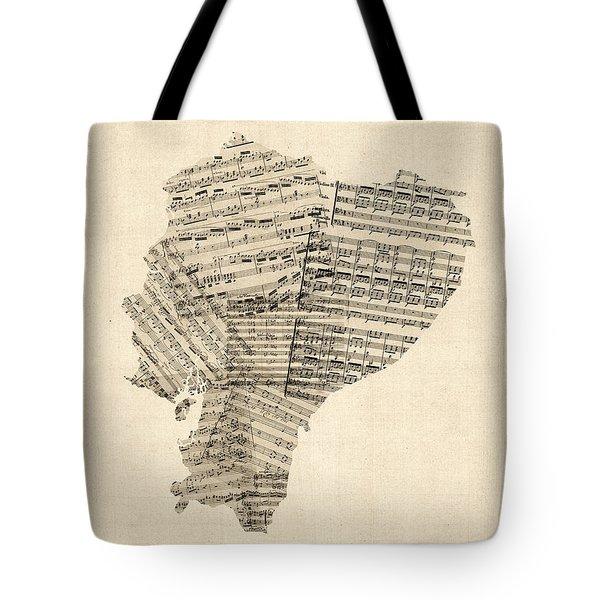 Old Sheet Music Map Of Ecuador Map Tote Bag