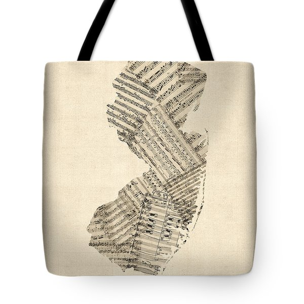 Old Sheet Music Map Of New Jersey Tote Bag by Michael Tompsett