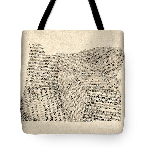 Old Sheet Music Map Of Oregon Tote Bag