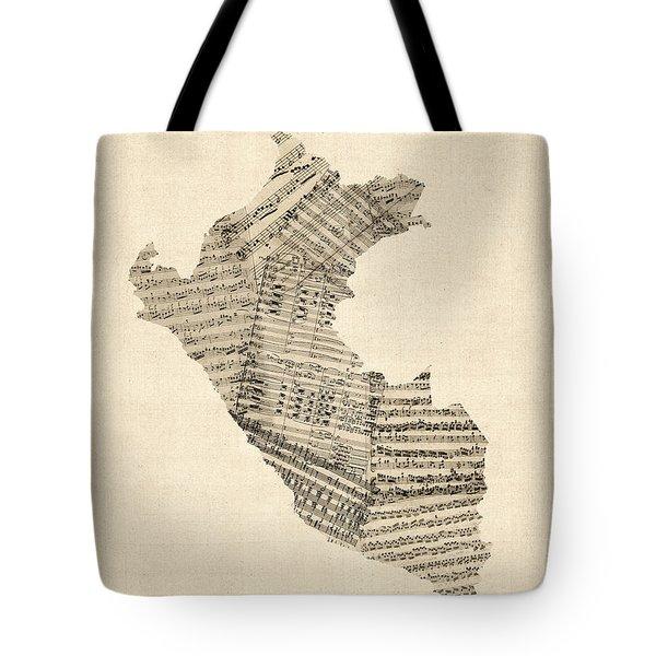 Old Sheet Music Map Of Peru Map Tote Bag