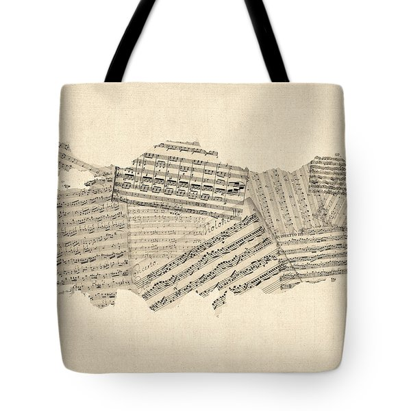 Old Sheet Music Map Of Turkey Map Tote Bag
