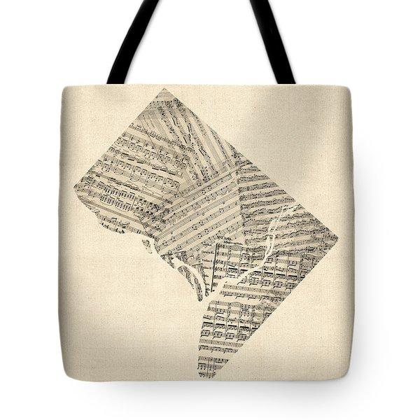 Old Sheet Music Map Of Washington Dc Tote Bag
