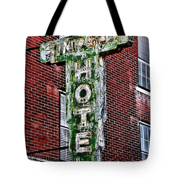 Old Simpson Hotel Sign Tote Bag by Christopher Holmes