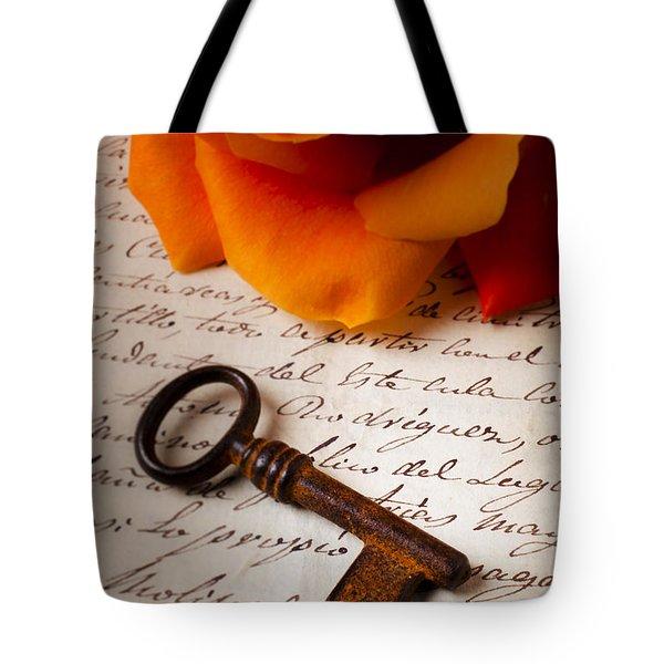 Old Skeleton Key On Letter Tote Bag by Garry Gay
