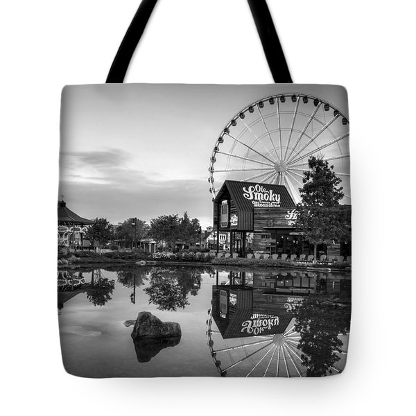 Ole Smoky Tennessee Moonshine Reflection In Black And White Tote Bag