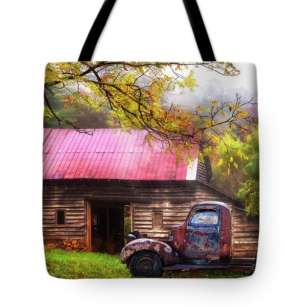 Tote Bag featuring the photograph Old Smoky Truck And Barn by Debra and Dave Vanderlaan