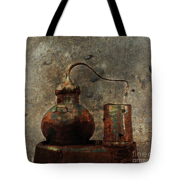 Tote Bag featuring the digital art Old Still Barrel by Megan Dirsa-DuBois