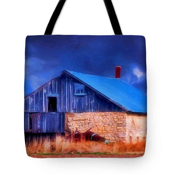 Old Stone Barn Blue Tote Bag