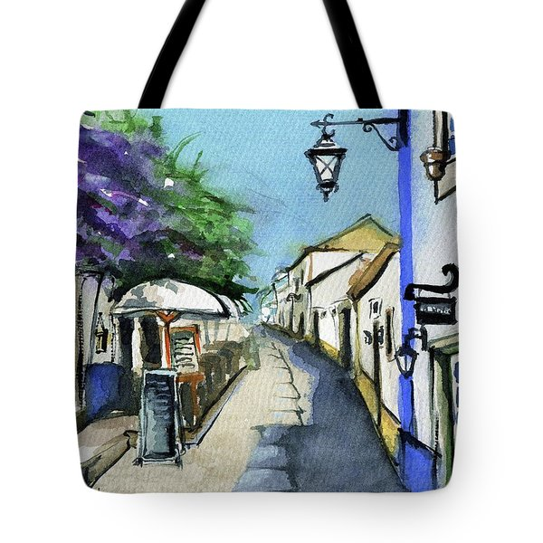 Tote Bag featuring the painting Old Street In Obidos, Portugal by Dora Hathazi Mendes