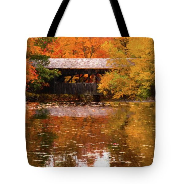 Tote Bag featuring the photograph Old Sturbridge Village Covered Bridge by Jeff Folger
