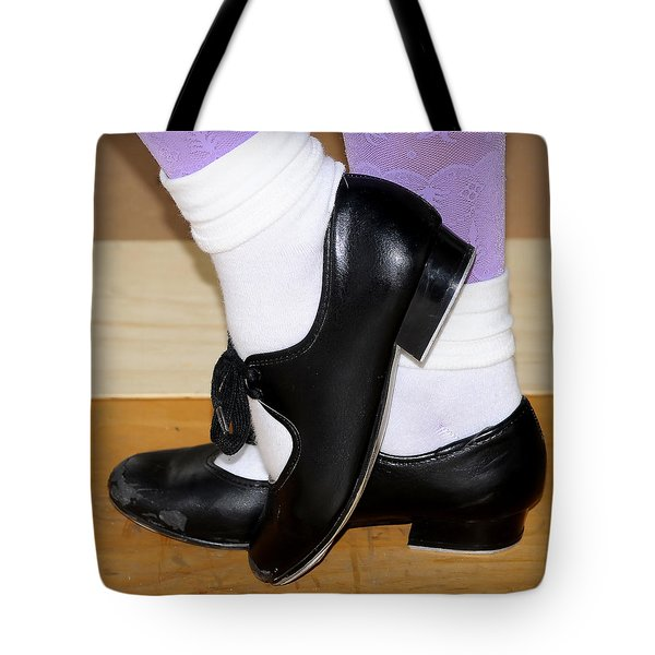 Old Tap Dance Shoes With White Socks And Wooden Floor Tote Bag