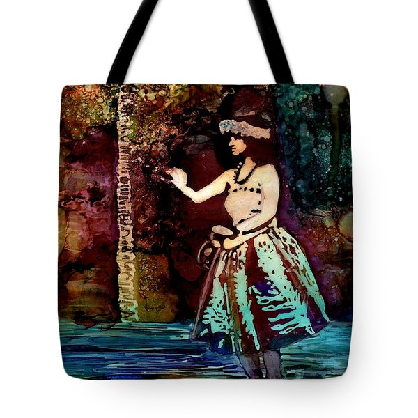 Tote Bag featuring the painting Old Time Hula Dancer by Marionette Taboniar