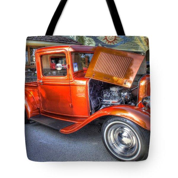 Old Timer Orange Truck Tote Bag