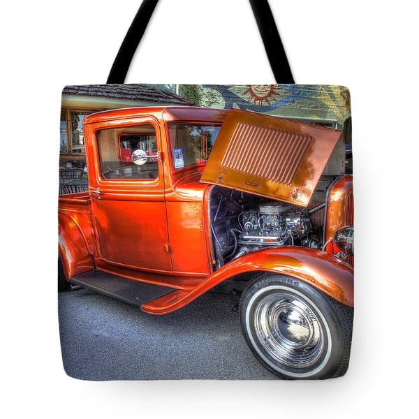Old Timer Orange Truck Tote Bag
