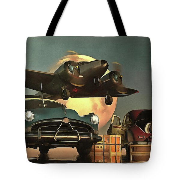 Old-timers With Airplane Tote Bag