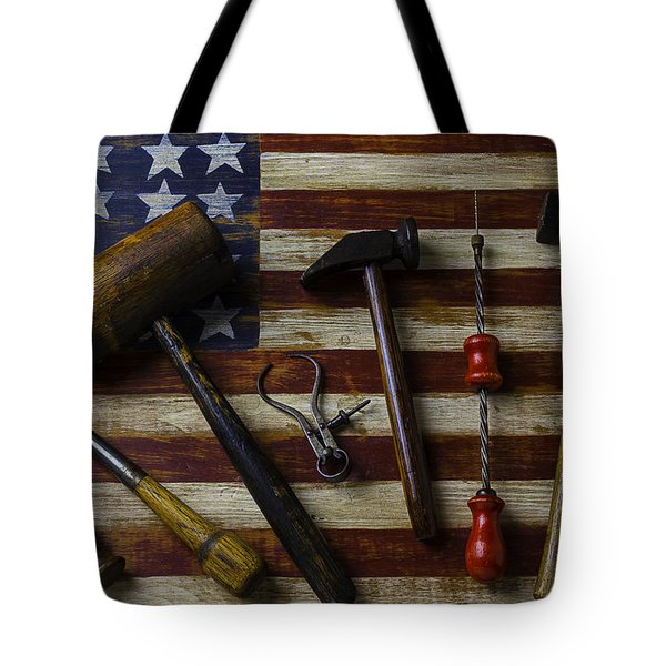 Old Tools On Wooden Flag Tote Bag
