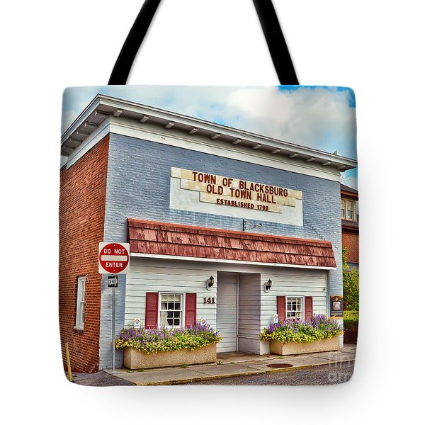 Old Town Hall Blacksburg Virginia Est 1798 Tote Bag
