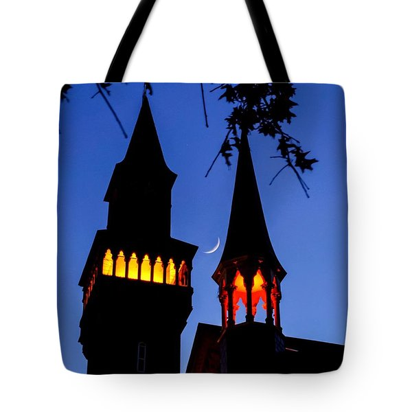 Tote Bag featuring the photograph Old Town Hall Crescent Moon by Sven Kielhorn