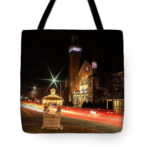 Old Town Hall Light Trails Tote Bag