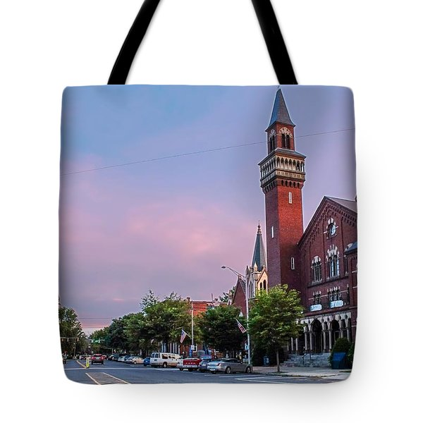 Old Town Hall Sunset Sky Tote Bag