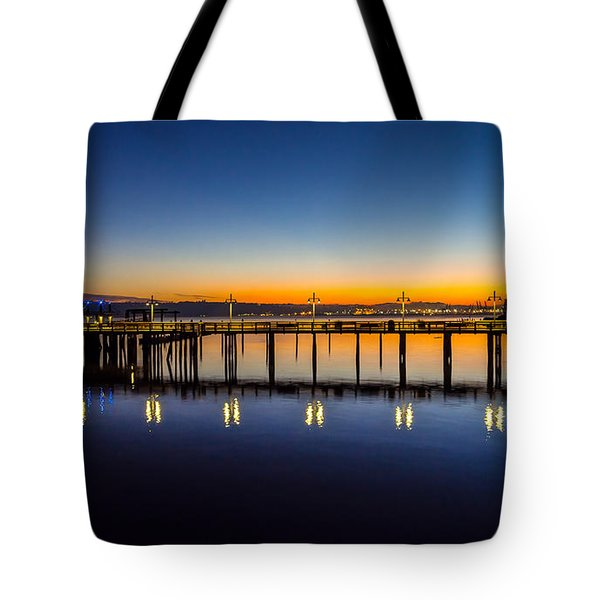 Old Town Pier Blue Hour Sunrise Tote Bag