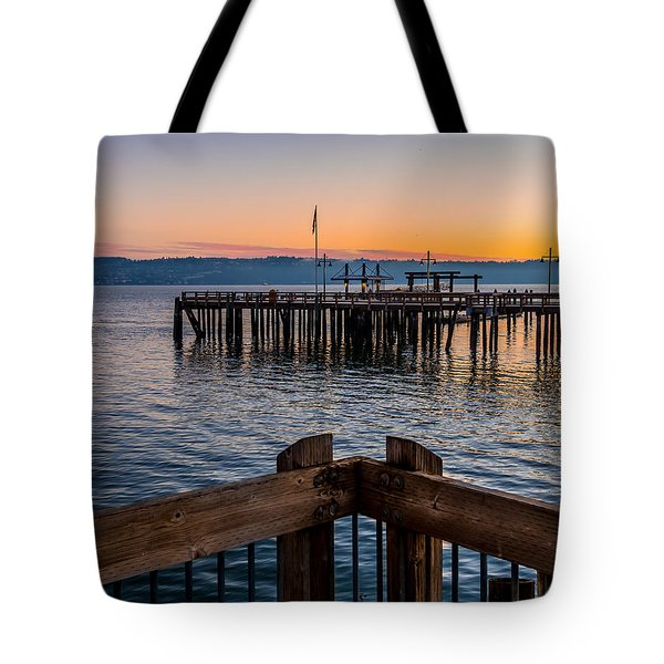 Old Town Pier During Sunrise On Commencement Bay Tote Bag