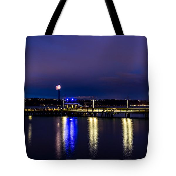 Old Town Pier During The Blue Hour Tote Bag
