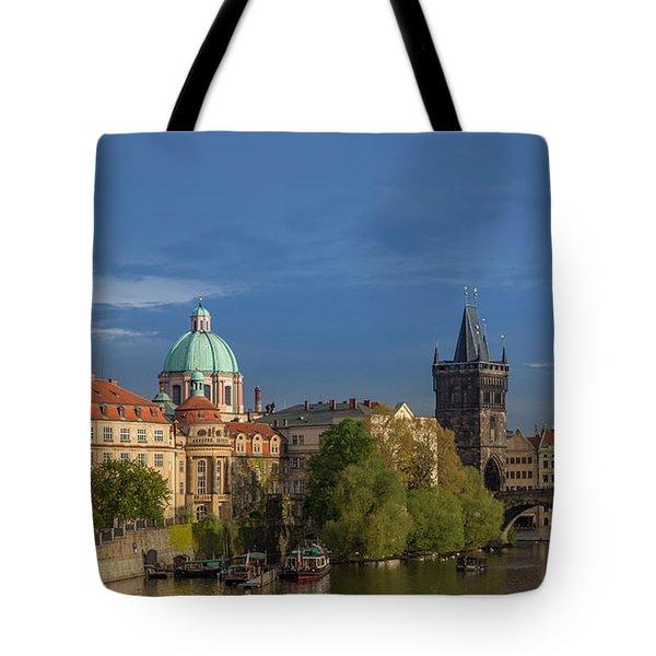 Old Town Prague  And Charles Bridge At Dusk Tote Bag
