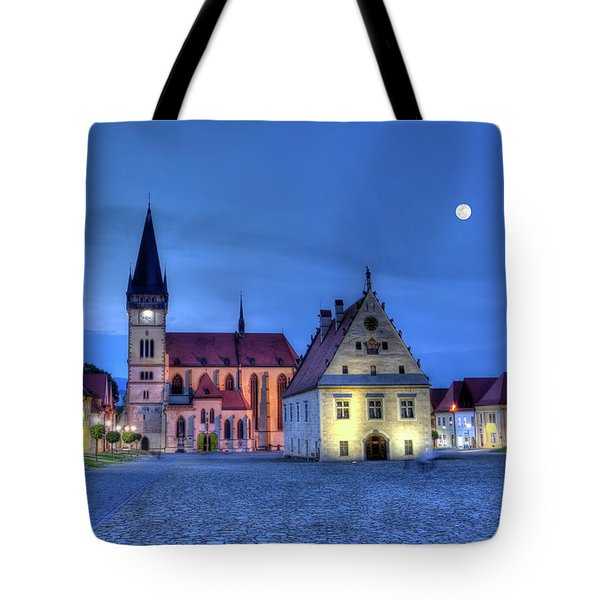 Old Town Square In Bardejov, Slovakia,hdr Tote Bag by Elenarts - Elena Duvernay photo