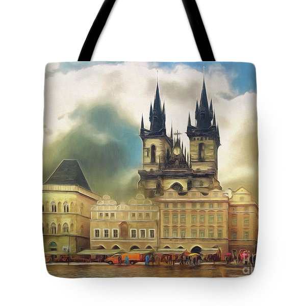 Old Town Square Prague In The Rain Tote Bag