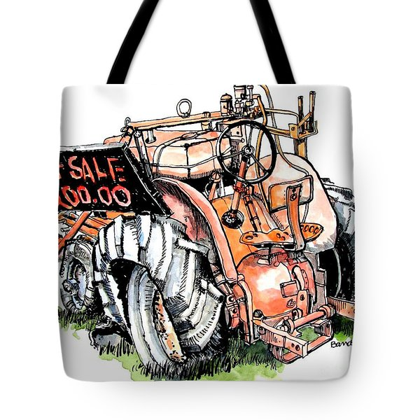 Tote Bag featuring the painting Old Tractor by Terry Banderas