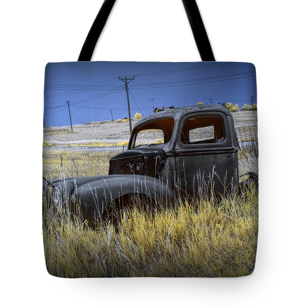 Old Truck In Infrared Lying In The Grass At The Ghost Town By Okaton South Dakota Tote Bag