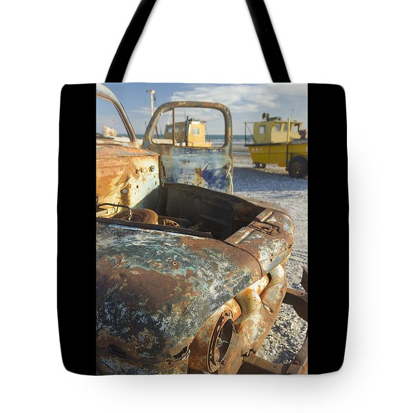 Old Truck In The Beach Tote Bag by Silvia Bruno