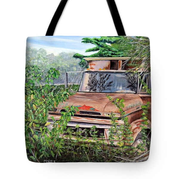 Old Truck Rusting Tote Bag by Marilyn  McNish