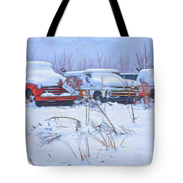 Old Trucks In Snow Tote Bag