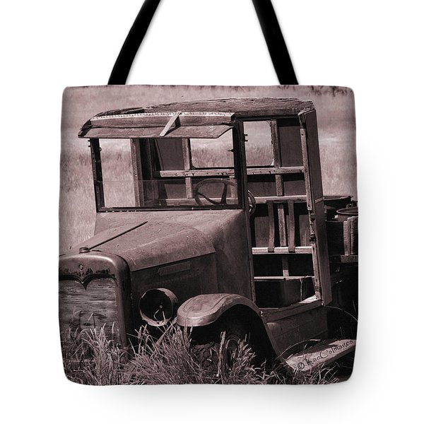 Tote Bag featuring the photograph Old Truck In Sepia by Kae Cheatham