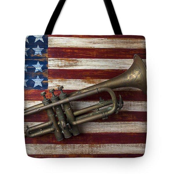 Old Trumpet On American Flag Tote Bag