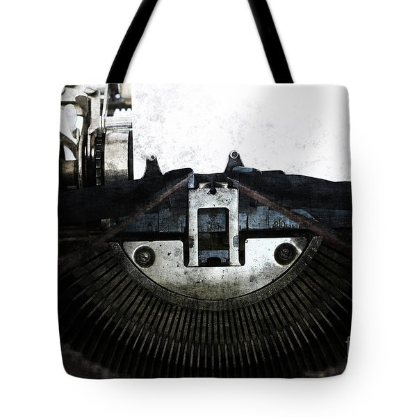 Old Typewriter Machine In Grunge Style Tote Bag by Michal Boubin