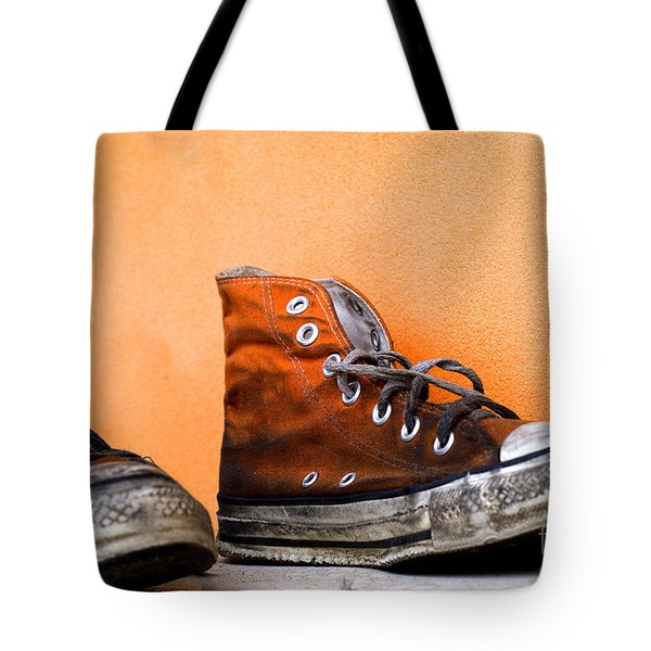 Old Used And Soiled Orange All Star Shoes Tote Bag