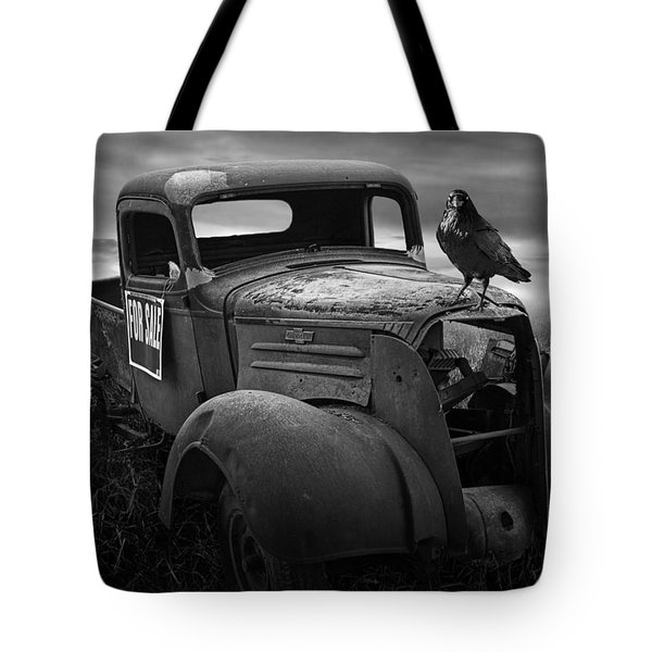 Old Vintage Chevy Pickup Truck With Ravens Tote Bag